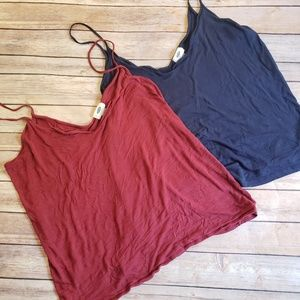 [ Old Navy ] Set of V Neck Tanks Maroon and Navy